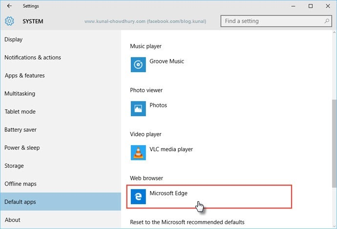 Windows 10 - Settings Page - Default apps - Select default browser (www.kunal-chowdhury.com)