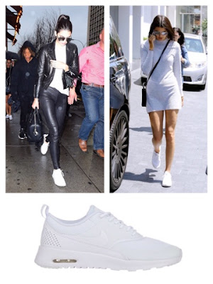 Celebrity Kendall Jenner in White Nike Air Max Thea Premium