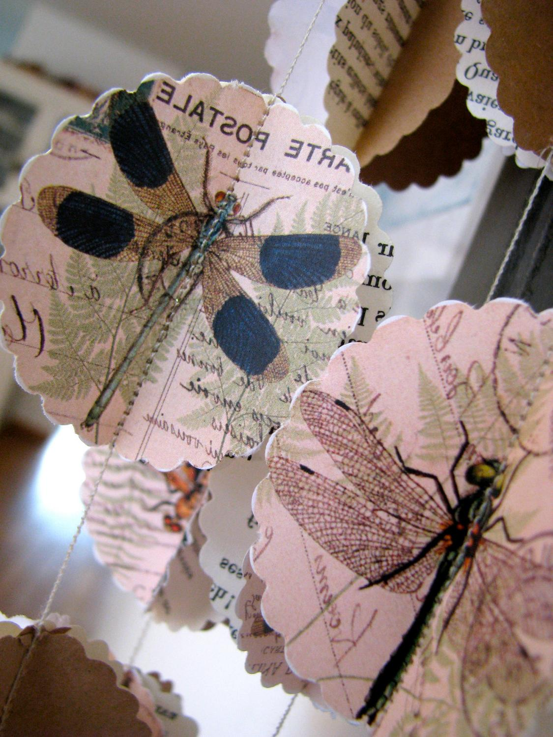 Paper garland, PARIS DRAGONFLY, for wedding, party 10 FEET. From LaMiaCasa