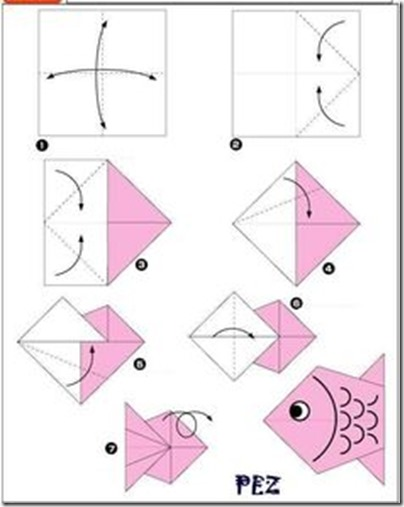 pez origami niños