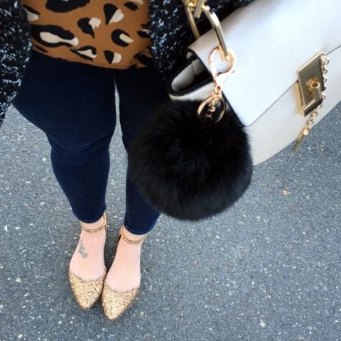 glitter flats, leopard shirt, mom style