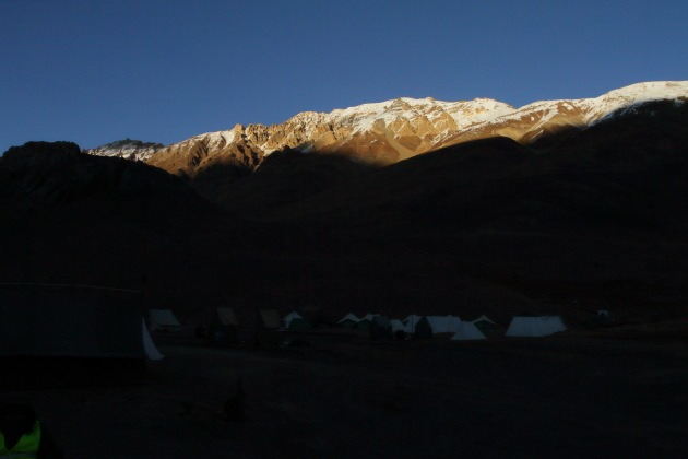 Sunset over the Chandra Taal campsite