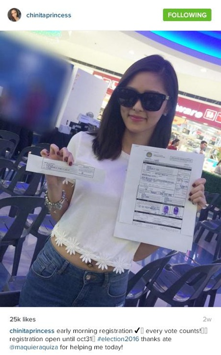 Kim Chiu with her registration form