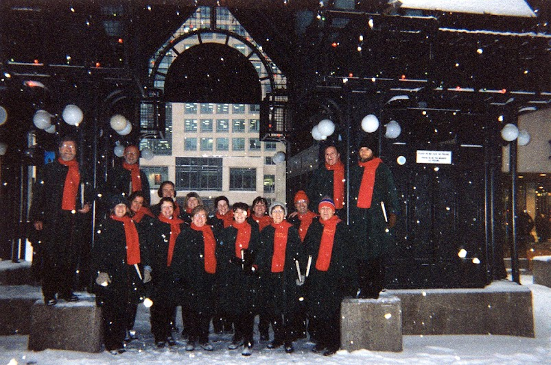 The Stairwell Carollers sing on Sparks Street Ottawa