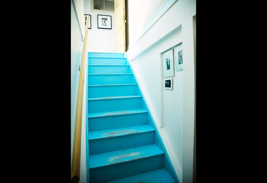 staircase in aqua blue  or