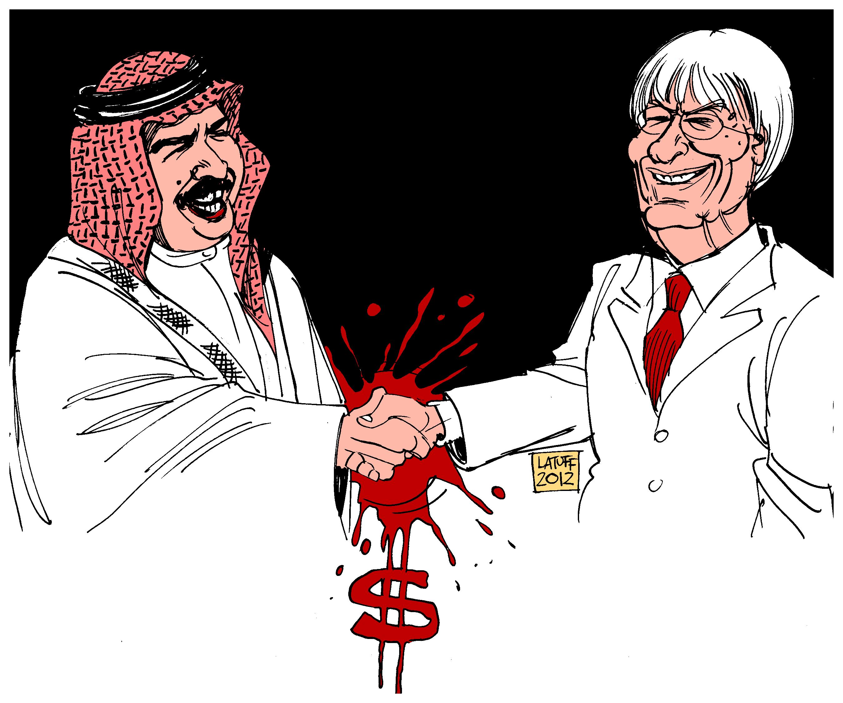 Берни Экклстоун жмет руку королю Хамаду - карикатура Carlos Latuff