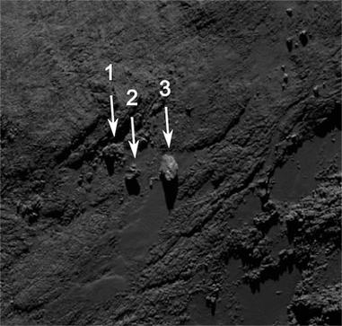 posição das três rochas