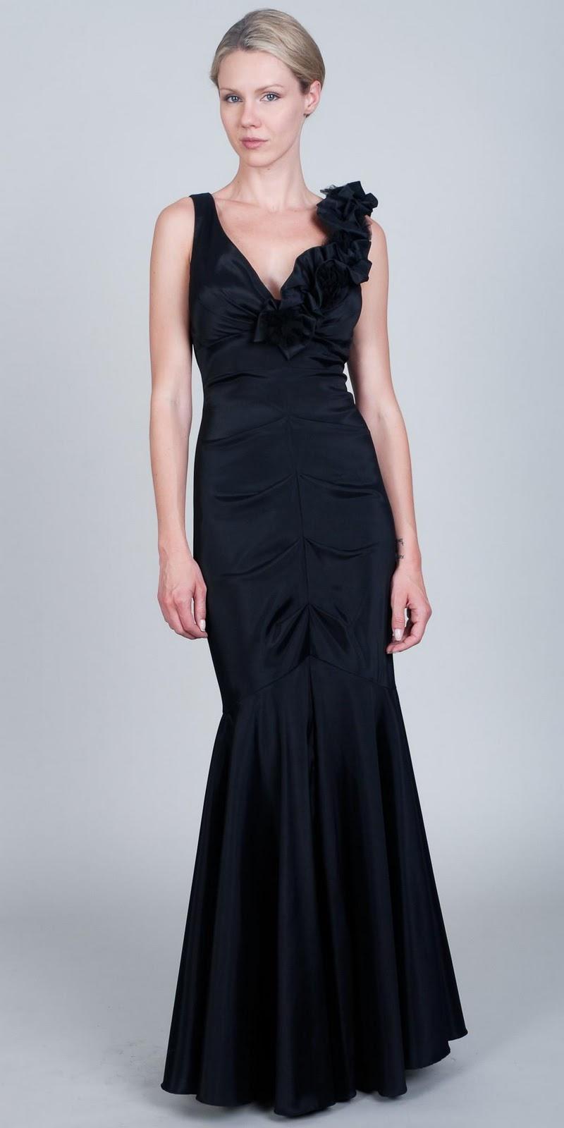 Black Floral Evening Dresses-