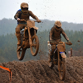 Mud Guys Jumping by Marco Bertamé - Sports & Fitness Motorsports ( position, bike, mud, rainy, motocross, fight, clumps, race, hard, duel, competition, jump,  )