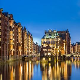 Hamburg by Nikolas Ananggadipa - City,  Street & Park  Historic Districts ( cityscapes, blue hour, germany, long exposure, night, cityscape, longexposure, golden, nightscapes, hamburg, river, nightscape,  )