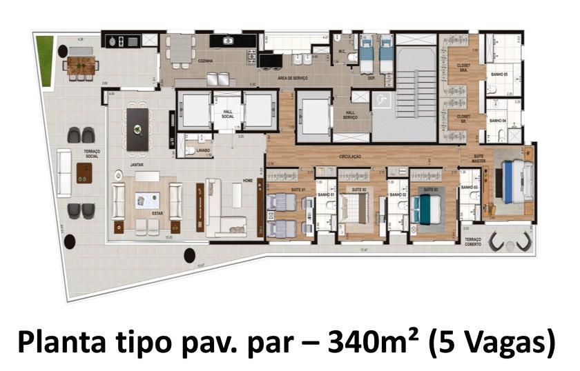 Planta Tipo Pav Par - 340 m²
