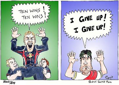 комикс Black Flag про Себастьяна Феттеля и Фернандо Алонсо на Гран-при Кореи 2011