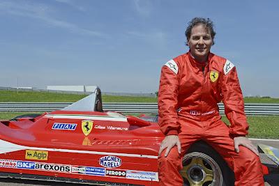 Жак Вильнев и болид Ferrari Жиля Вильнева на трассе Фьорано 8 мая 2012
