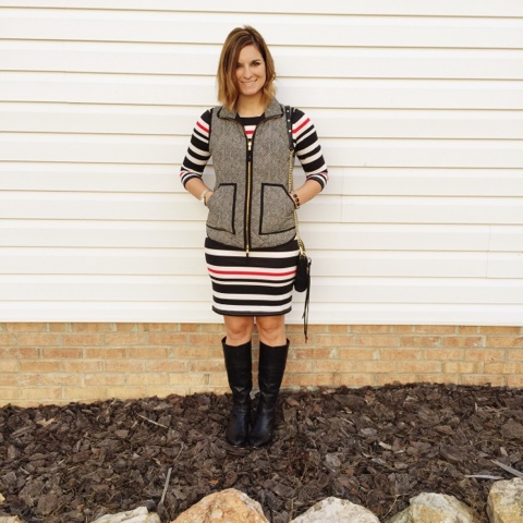 striped dress, herringbone vest, ever pretty, mom style