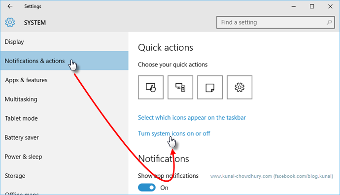 Windows 10 System Settings - Notifications and actions (www.kunal-chowdhury.com)