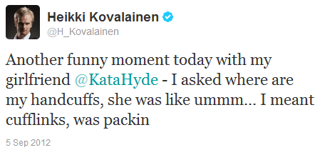 Хейкки Ковалайнен в твиттере про наручники