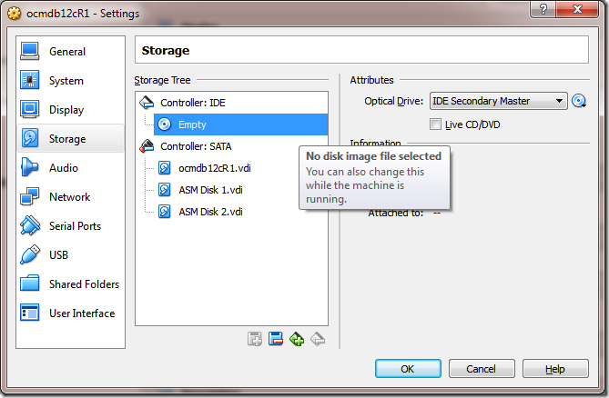 Create VM add Oracle Linux 6.5 ISO to DVD drive