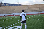 Logan Johnson looks up field
