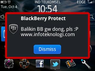 Kirim pesan notifikasi saat Blackberry Hilang
