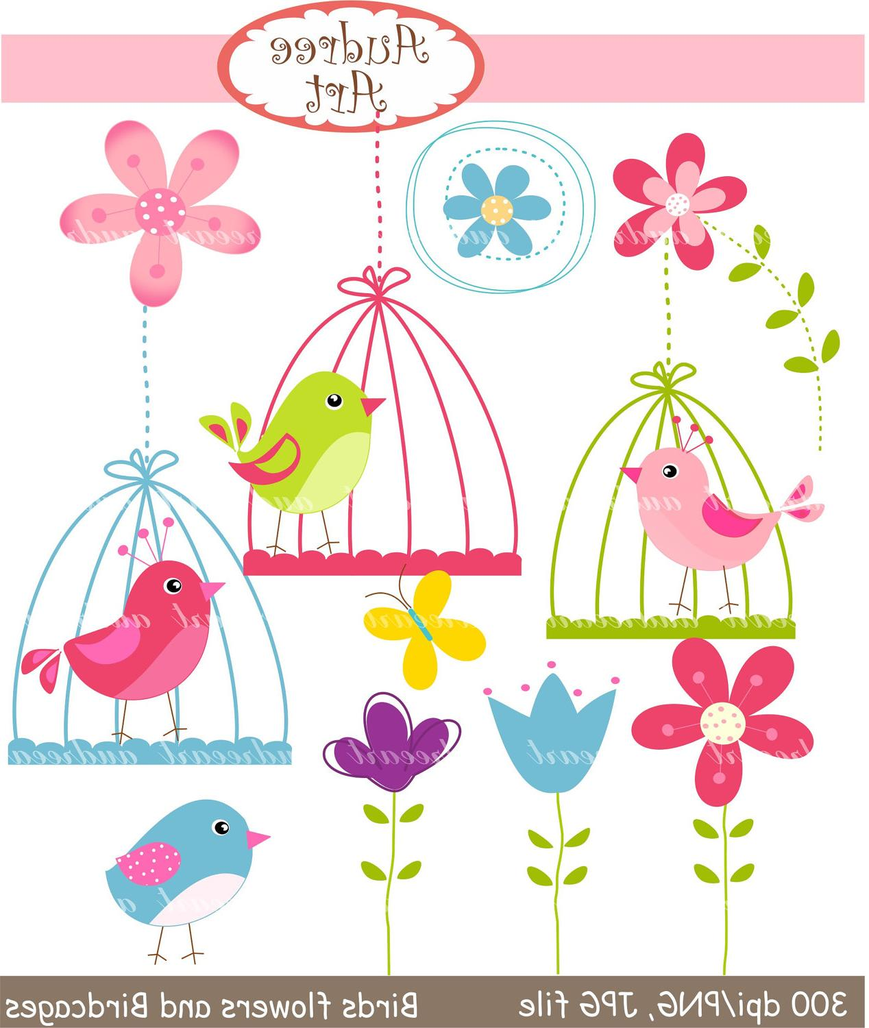 Clip art birds, birds, flowers and birdcages, pink, blue,green 5402
