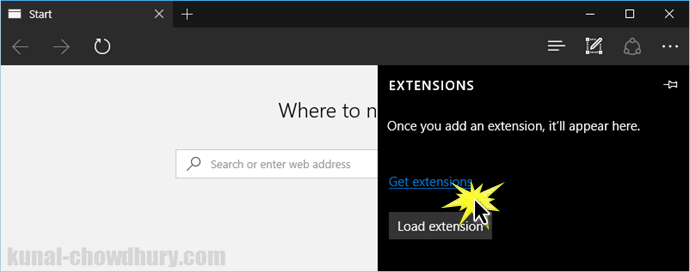 Windows 10 - Microsoft Edge - Get Extensions (www.kunal-chowdhury.com)