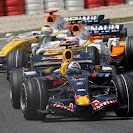 David Coulthard (GBR/ Red Bull Racing), Heikki Kovalainen (FIN) and Giancarlo Fisichella (ITA/ Renault)