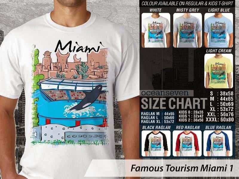 Jual Kaos Wisata Miami 1 Amerika distro ocean seven