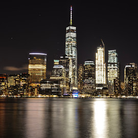 NYC Skyline  by Aditya Shrivastava - City,  Street & Park  Skylines ( skyline, new york skyline, skyscrapers, long exposure, night, new york city, nyc )