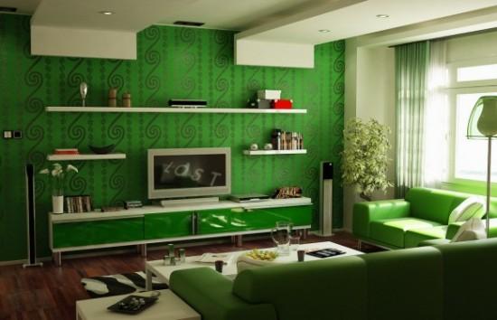 Wohnzimmer Grün Weiß: 100 ideen für wandgestaltung in grün. S ...