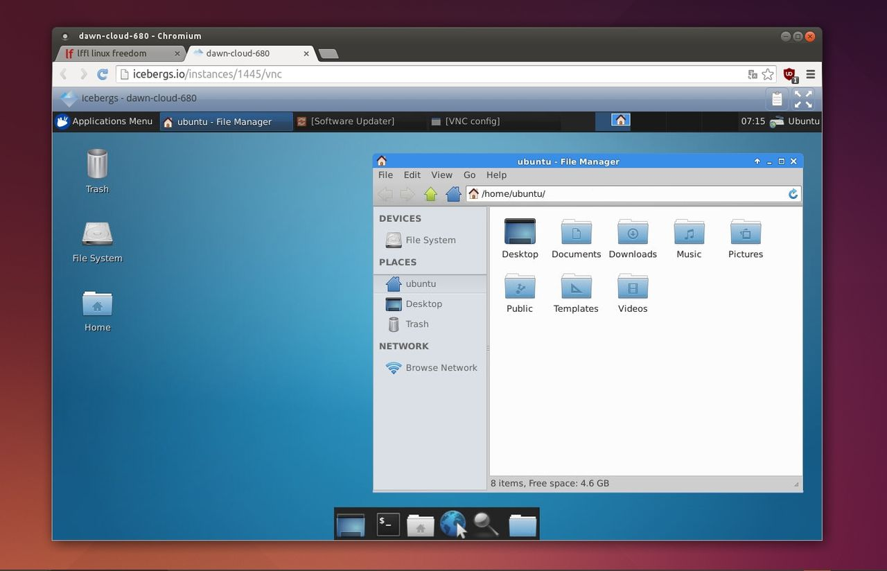 Icebergs Xubuntu via Web