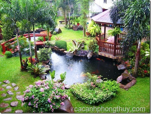 Hồ koi sân vườn có nhà sàn và cầu bắt ngang thích hợp là nơi làm việc và giảm stress