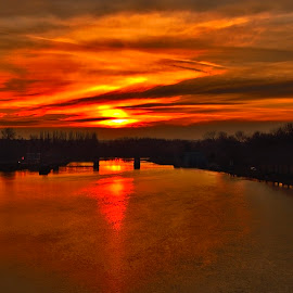 Sunset over the river by Michal Fokt - Landscapes Sunsets & Sunrises ( sunset, river )