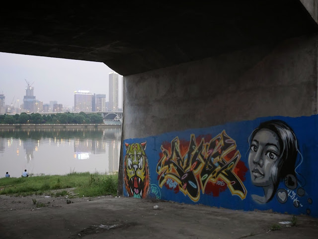 graffiti with images of a tiger and a woman under a bridge in Changsha