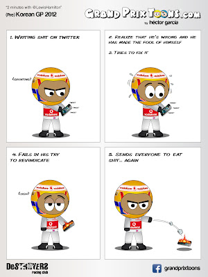 Льюис Хэмилтон в твиттере - комикс Grand Prix Toons