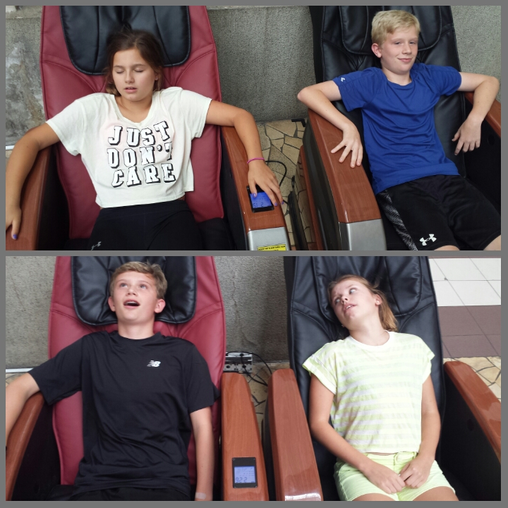 Genial We Proceeded To Totally Mall Out.... Kids In Massage Chairs.