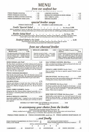 Canlis debut menu 1950