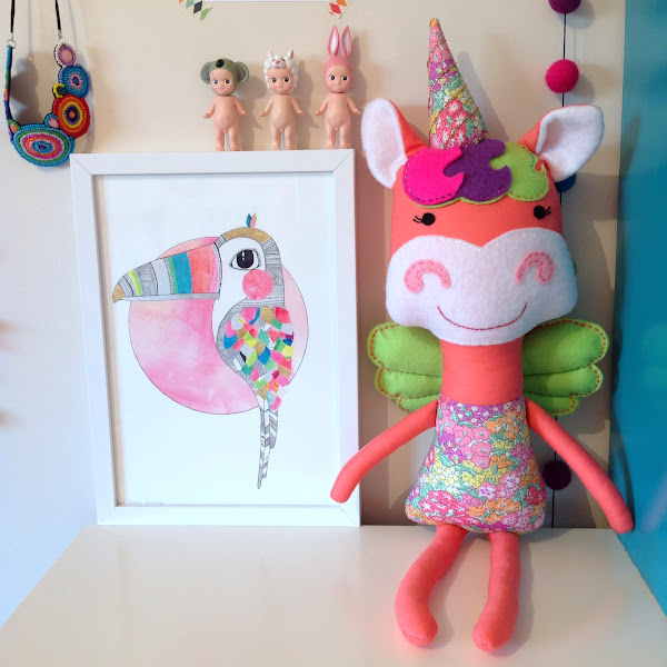 Liberty Print Unicorn Doll Handmade in Australia Laura Blythman Toucan Print Sonny Angels