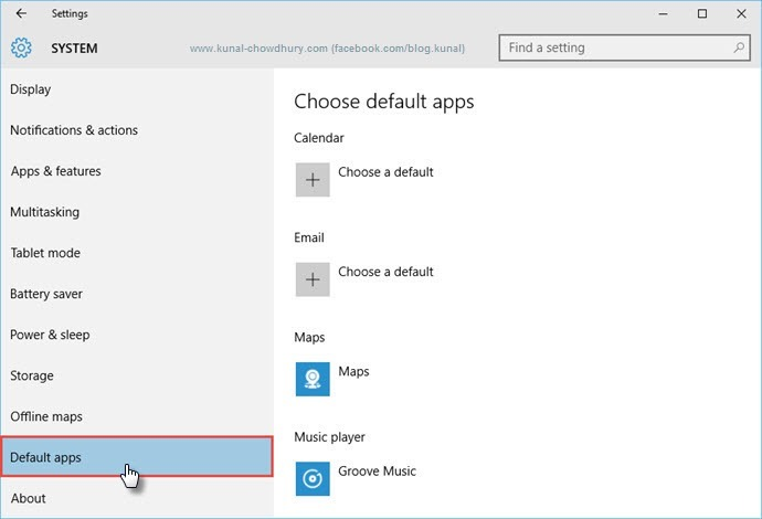 Windows 10 - Settings Page - Default apps (www.kunal-chowdhury.com)