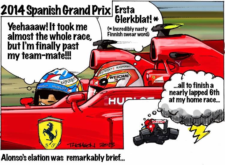Удивительно краткий восторг Алонсо - комикс Bruce Thomson по Гран-при Испании 2014