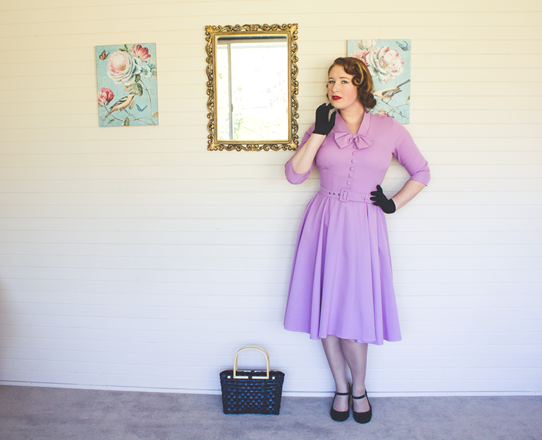 1950's vintage style in lilac and black | Lavender & Twill