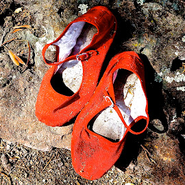 Left at the Scene by Barbara Brock - Artistic Objects Clothing & Accessories ( children's shoes, red shoes, red slippers, abandoned slippers,  )