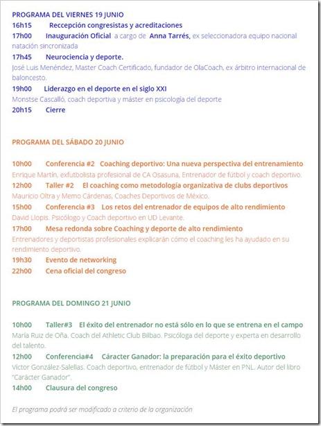 PROGRAMA 1er Congreso Mundial Coaching Deportivo en Barcelona del 19 al 21 Junio 2015.