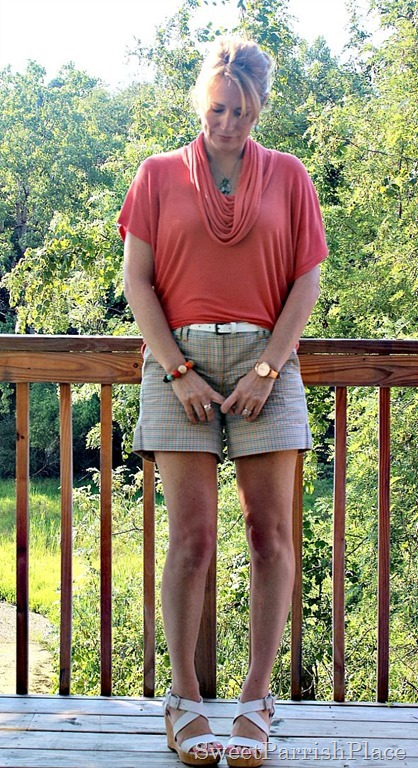 Coral Cowl neck top, plaid shorts, white wedges1