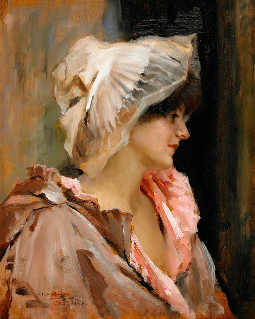 Albert Edelfelt - Parisian lady in a Peignoir.