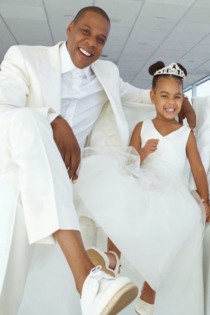 Jay Z and Daughter, all in white #JayZ