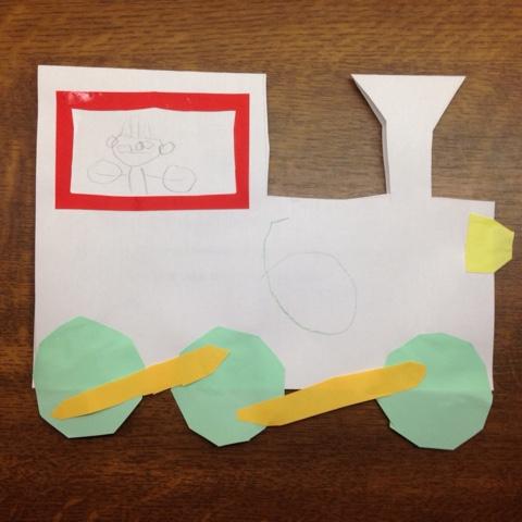 Selbstgebastelte Lok als Einladung zum Kindergeburtstag