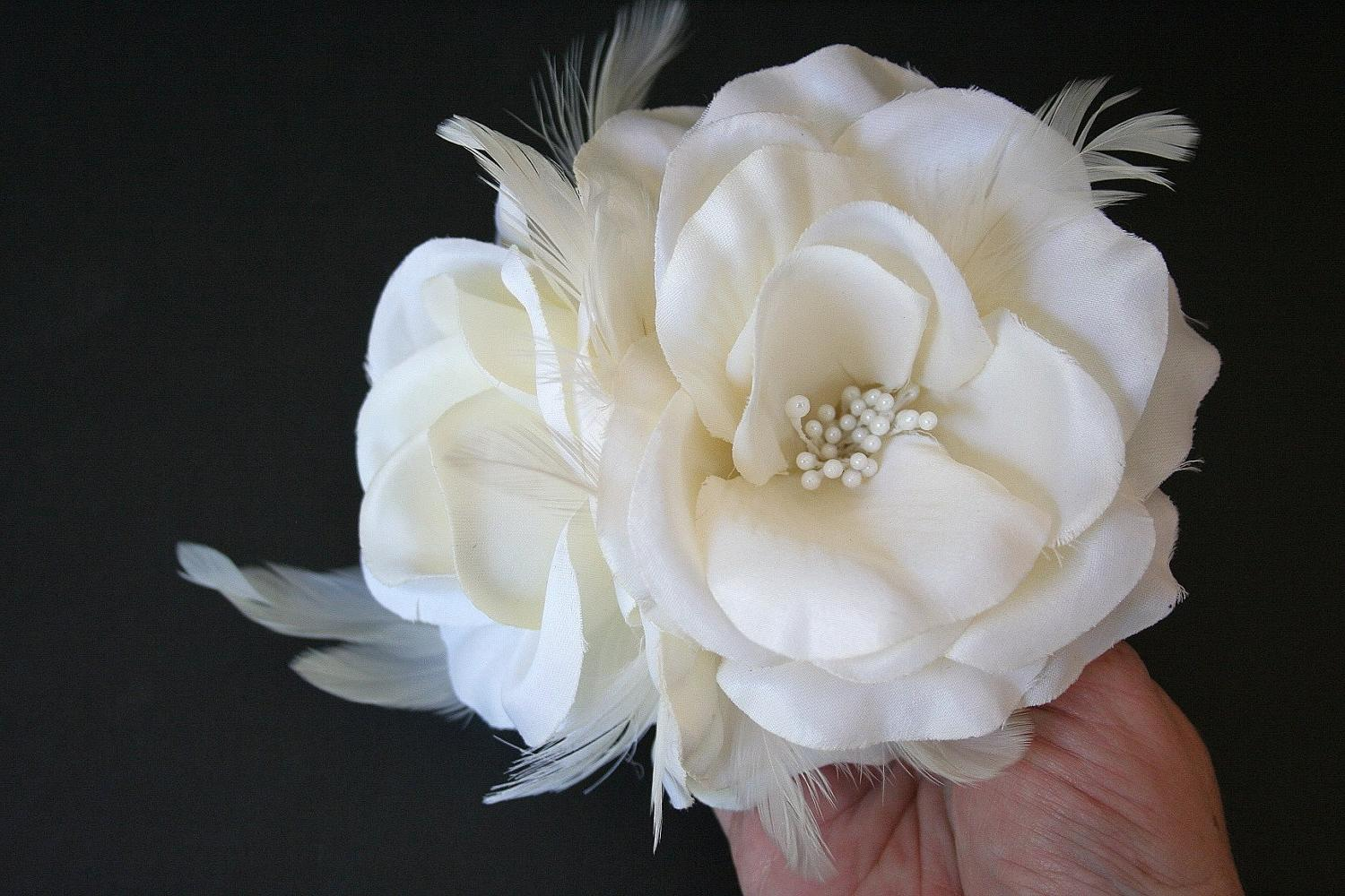 Ivory Bridal Hair Flower, Clip, Fascinator, Wedding Headpiece, Hairpiece,