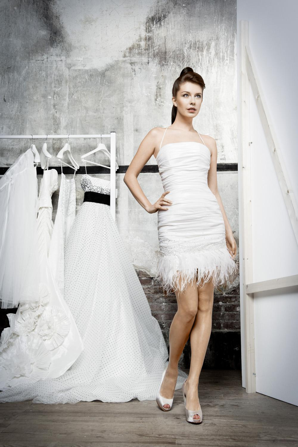 ostrich feather wedding dress