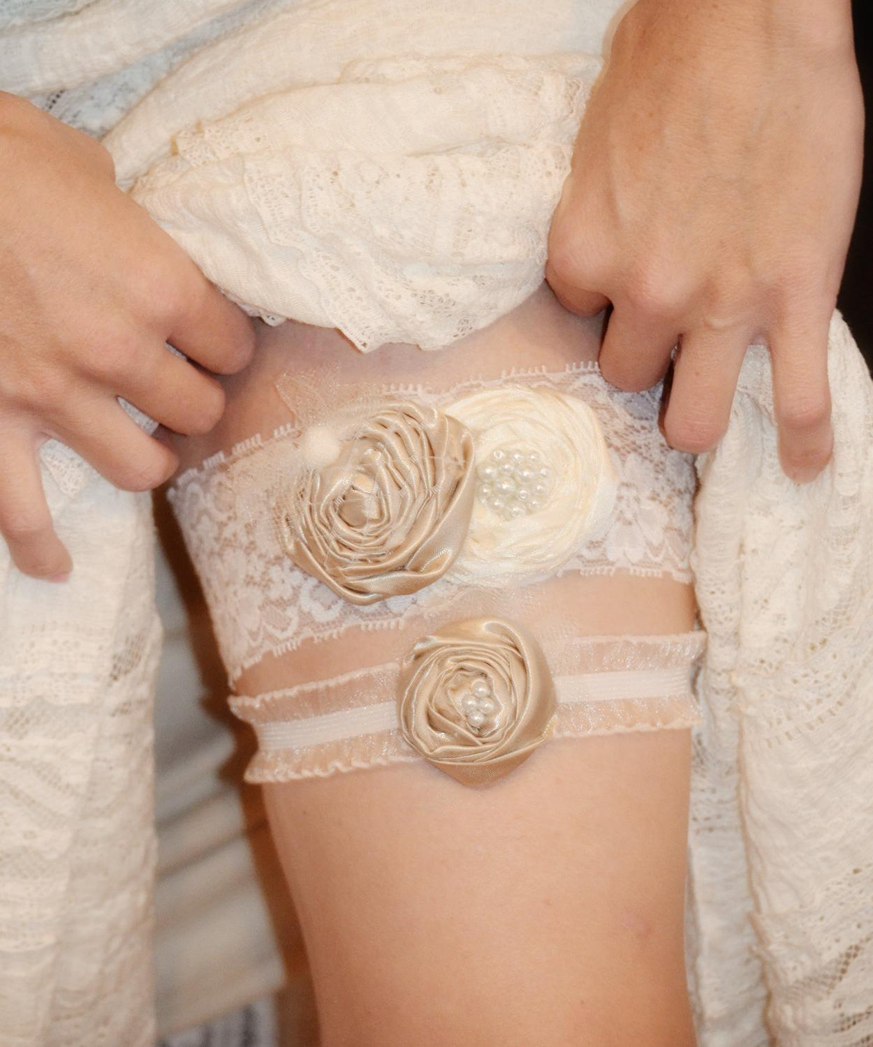 Ivory Wedding Garter Set