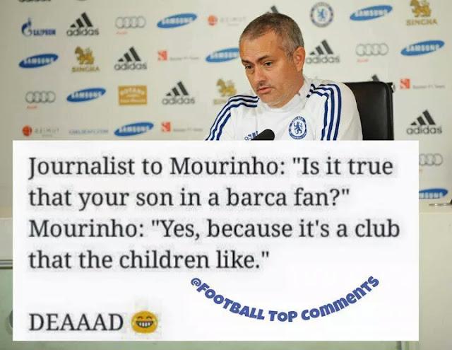 meme, jose mourinho, barcelona, lucu, kocak, anak jose mourinho